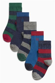 Navy Rugby Stripe Socks Five Pack (Older Boys)