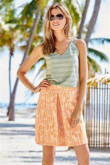 Peach Floral Jacquard Skirt