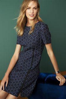 Blue 3D Textured Jacquard Dress