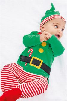 Green Elf Christmas Dress Up Velour Sleepsuit And Hat (0mths-2yrs)