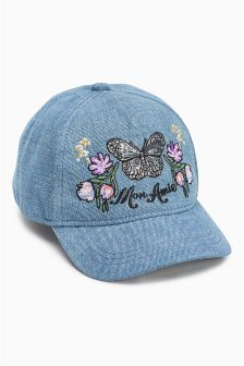 Denim Butterfly Embroidered Cap (Older Girls)