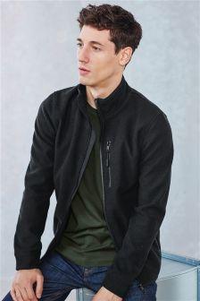 Black Zip Through Fleece Jacket