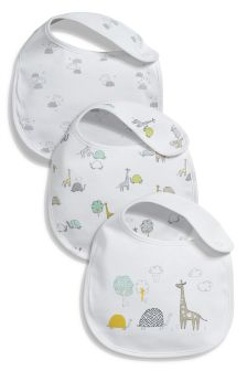 White Delicate Regular Bibs Three Pack