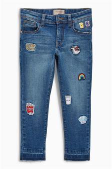 Denim Mid Blue Badge Skinny Jeans (3-16yrs)