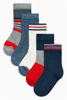 Orange/Navy Socks Five Pack (Younger Boys)