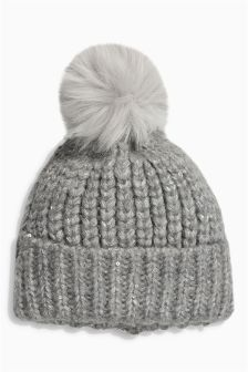 Grey Sequin Beanie (Older Girls)