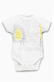 White/Lemon I Love Mummy Short Sleeve Bodysuit (0-18mths)