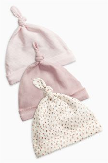 Pink Floral Print Tie Top Hats Three Pack (0-18mths)