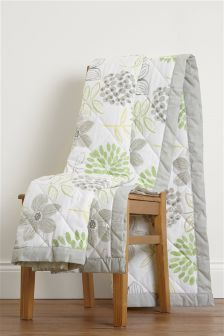 Green Floral Reversible Throw