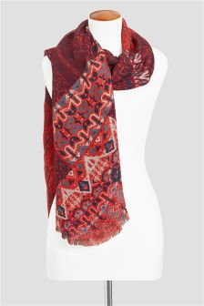 Red Linen Blend Print Scarf