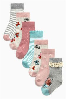 Pink Butterfly Socks Seven Pack (Younger Girls)