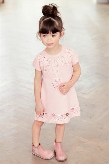 Pink Crochet Flower Jumper Dress (3mths-6yrs)