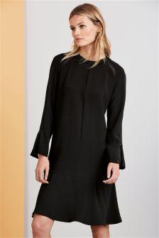Black Dropped Waist Fabric Mix Dress