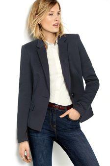 Navy Twill Single Breasted Jacket