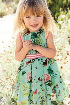 Blue Floral Print Prom Dress (3mths-6yrs)