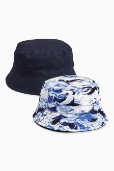 Blue/Navy Fisherman's Hats Two Pack (0mths-2yrs)