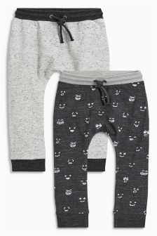 Grey Smiley Skinny Joggers Two Pack (3mths-6yrs)