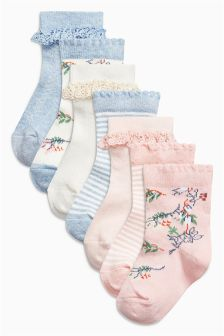 Yellow Floral Socks Seven Pack (Younger Girls)