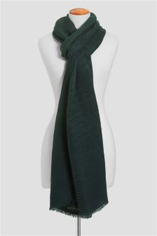 Green Pleated Scarf