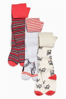Red Cat And Stripe Tights Three Pack (0mths-6yrs)
