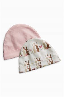 Pink Bunny Hats Two Pack (0-18mths)