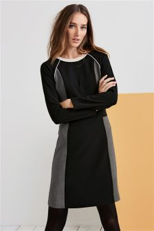 Black/Grey Colourblock Long Sleeve Dress