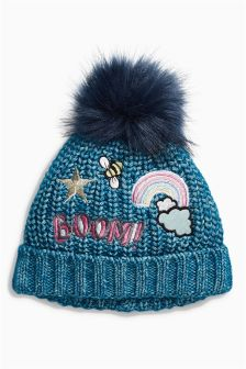 Denim Blue Badged Beanie Hat (Younger Girls)