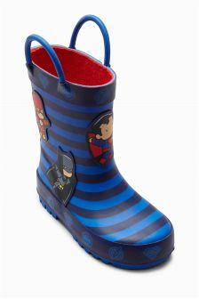 Navy Scribblenauts Wellies (Younger Boys)