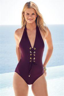 Plum Eyelet Swimsuit