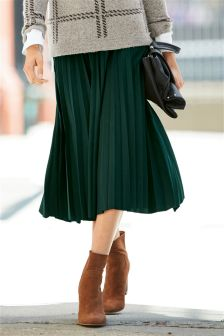 Green Metallic Pleated Skirt