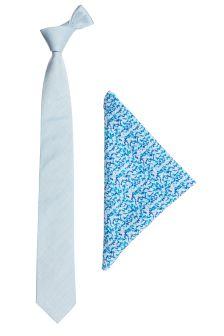 Cotton Tie And Floral Pocket Square Set
