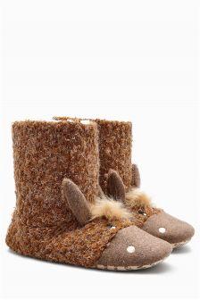 Brown Horse Slipper Boots