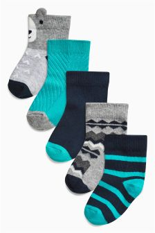 Navy/Teal Socks Five Pack (Younger Boys)