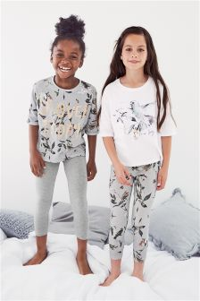 Grey Slogan Legging Pyjamas Two Pack (3-16yrs)