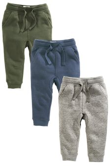 Blue/Grey/Khaki Textured Joggers Three Pack (3mths-6yrs)