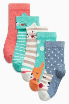 Green Cat Socks Five Pack (Younger Girls)