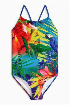 Multi Parrot Print Swimsuit (3-16yrs)