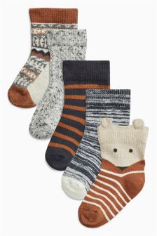 Tan/Ecru Alpine Socks Five Pack (Younger Boys)