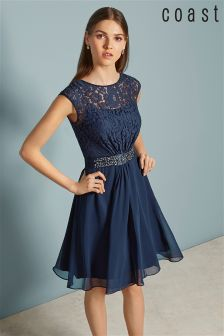 Coast Navy Lori Lee Lace Short Dress