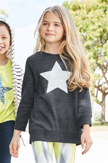 Charcoal Star Crew Top (3-16yrs)