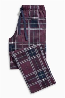 Plum And Ecru Cosy Long Bottoms