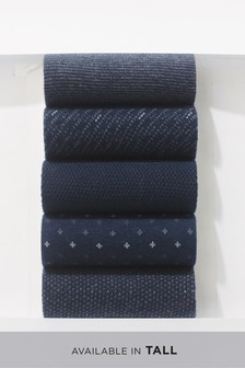 Navy Mixed Pattern Socks Five Pack