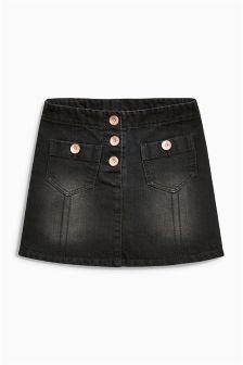 Black Denim Button Pocket Skirt (3-16yrs)