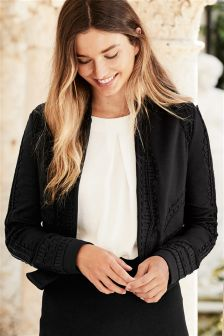 Black Jersey Embroidered Jacket