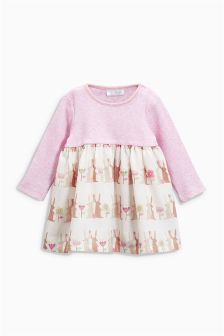 Pink Print Mix Dress (0mths-2yrs)