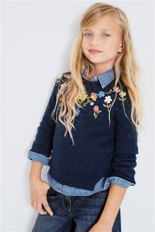 Navy Embroidered Floral Sweater (3-16yrs)