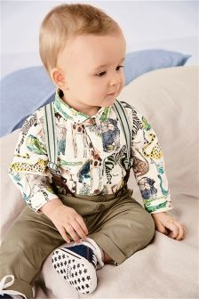 Multi Animal Printed Smart Braces Set (0mths-2yrs)