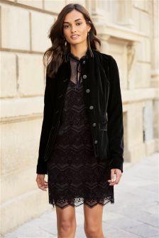 Black Velvet Military Jacket