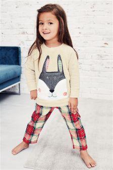 Red/Ecru Rabbit Woven Bottom Pyjamas (9mths-8yrs)