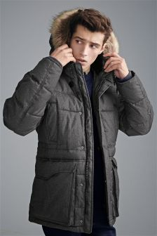 Charcoal Wadded Faux Fur Hooded Parka